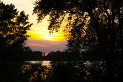 Tranquil orange sunset over the Danube River Stock Photo