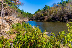 Tranquil Outdoor Scene in Oklahoma. A Tranquil Autumn Outdoor Scene at Robbers Cave State Park in Oklahoma royalty free stock photography