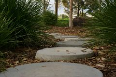 Tranquil peaceful stone path stock photo