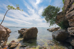 Tranquil rocky cove on a clear day. Stock Photography