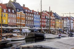 Tranquil Scandinavian Harbor With Water Reflections Royalty Free Stock Photos