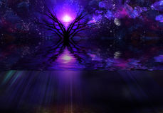 Tranquil Scene. High Resolution 3D Illustration Deep Purple Tranquil Scene Royalty Free Stock Image