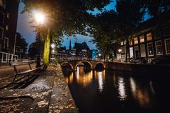 Tranquil scene of Amsterdam, autumn cityscape of beautiful bridge over canal. the Netherlands. Long exposure stock image