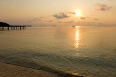 Tranquil scene of beach during sunrise in dawn at Samet island Royalty Free Stock Photos