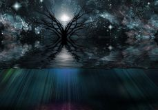 Tranquil Scene. Black tree in the water. Starry sky. 3D rendering Royalty Free Stock Photos