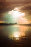 Tranquil scene over lake with beautiful sky above Stock Image