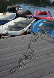 Tranquil scene of rowing boats Royalty Free Stock Images