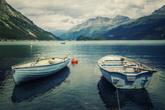 Tranquil scene on the shore of the Sils Lake Stock Images
