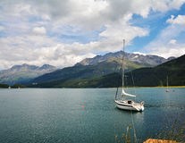 Tranquil scene on the shore of the Sils Lake Stock Photos