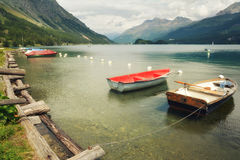 Tranquil scene on the shore of the Sils Lake Stock Image
