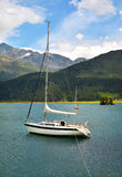 Tranquil scene on the shore of the Sils Lake Stock Photo