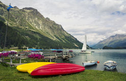Tranquil scene on the shore of the Sils Lake Royalty Free Stock Photos