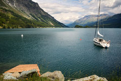 Tranquil scene on the shore of the Sils Lake Royalty Free Stock Images