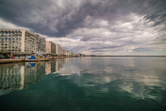 Tranquil Scene of Thessaloniki Port on a cloudy Day Royalty Free Stock Photo