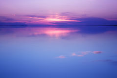 Tranquil scenery in blue and pink colors.