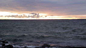 Tranquil sea on sunset stock footage