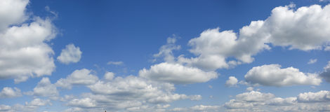 Tranquil sky. Fluffy clouds slowly fly on the sky. Silently and easy Stock Images