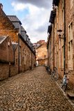 Tranquil street in the 13th century Grand Beguinage of Leuven, Belgium stock photography