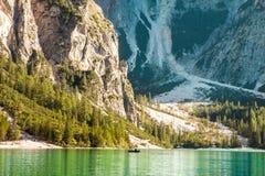 Tranquil summer Italian dolomites mountain lake Stock Photos