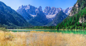 Tranquil summer Italian dolomites mountain lake Royalty Free Stock Photos