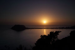 Tranquil sunrise and silhouettes over Pittwater, Broken Bay, Pal Stock Photography