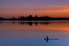 Tranquil Sunset. A tranquil sunset at Astotin Lake, Elk Island Park, Alberta royalty free stock photography