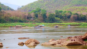 Tranquil View of Mekong River,Luang Prabang,Laos. Day time stock footage