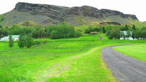 Tranquil view of a village at rural Iceland in summer stock video