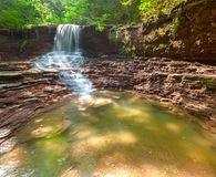 Tranquil waterfall scenery in the forest Stock Photo