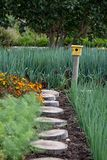 Tranquil, well stocked garden, with a variety of plants and a yellow bird house at the end of the path. Tranquil, well stocked garden with a variety of plants royalty free stock photos