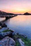 Tranquilamente puesta del sol el embarcadero. fotografía de archivo
