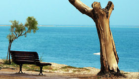 Tranquile scene of turquoise sea. Dead-sea landscape Royalty Free Stock Photography