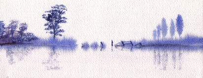Tranquilidade no azul ilustração stock