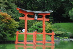 Tranquility. The tranquil and peaceful Japanese lake and garden Stock Photos