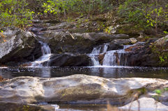 Tranquility. Mountain stream and waterfall Stock Photos