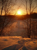 The tranquility. The sunset in the winter Royalty Free Stock Photography