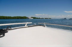 The tranquility of the Caribbean from a white boat Stock Photos