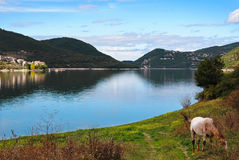 The tranquility of the lake. View of Lake Turano in Italy in the autumn Stock Photography