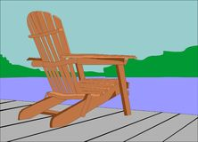 Tranquility at the lake. Adirondack  chair sitting on a dock, looking out at the water.. awaiting someone to enjoy the view Royalty Free Stock Photos
