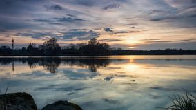 Tranquility On The Lake At Sunrise. Forest In Background Royalty Free Stock Photography