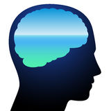 Tranquility Ocean Meditation Brain Relaxation. Tranquility - symbolized by a brain with relaxing calm blue ocean vision meditation. Isolated vector illustration Royalty Free Stock Photo