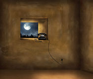 Tranquility of the Past. Artistic Image of a dark room with a window on a forest with the full moon and an old black phone on the windowsill Royalty Free Stock Image