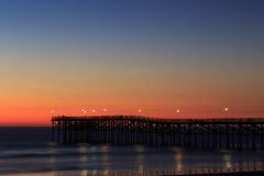 Tranquility at pier. Colorful twilight at pacific beach pier, San Diego California Royalty Free Stock Photos