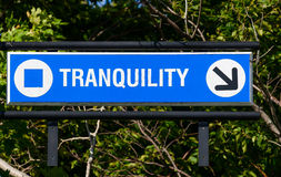 Tranquility Sign. On a blue board Royalty Free Stock Photo