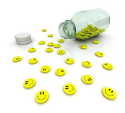 Tranquilizer. Yellow antidepressant drugs from glass bottle Stock Image