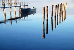Tranquille water at chiemsee stock photos