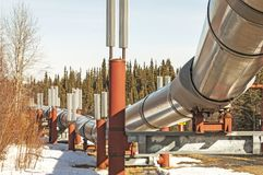Trans Alaska Pipeline with Snow stock photos