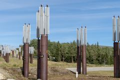 Trans Alaska Pipeline markers indicate where the pipeline goes underneath the group. Trans Alaska Pipeline markers indicate where the pipeline goes underground royalty free stock photos