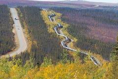 Trans.-Alaska rörledning längs den Dalton huvudvägen till den Pudhoe fjärden i Alaska Royaltyfri Foto