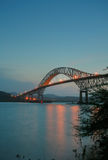Trans American bridge in Panama connected South and North Americas in the sunset stock image